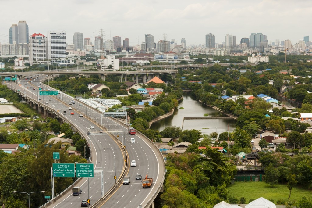 BANGKOK THAILAND - AUG 9 2014: City view from the building, can