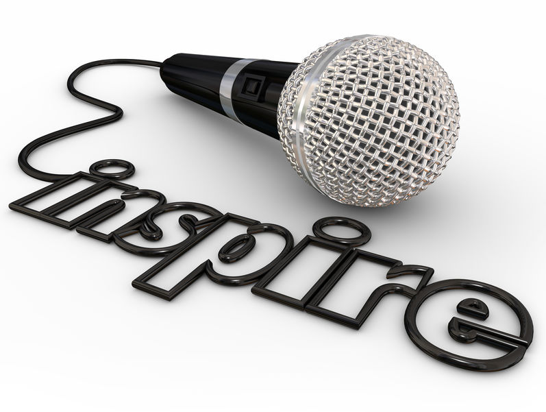 Inspire Microphone Word Cord Motivational Speaker Keynote Addres