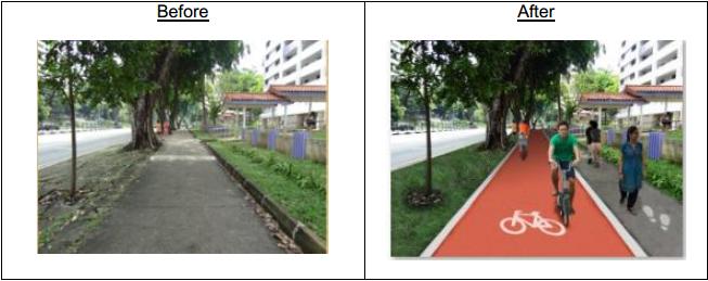 Dedicated walking and cycling paths (Image source: LTA)