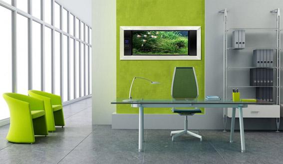 ruang kantor dengan nuansa hijau