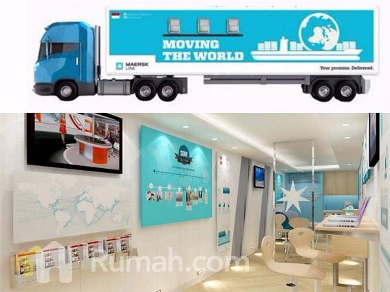maersk - truk mobile container kantor - interior - eksterior