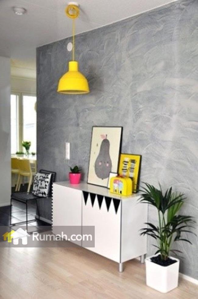Anda juga bisa menggabungkan warna favorit Anda dengan dinding unfinished untuk memberikan sentuhan pribadi. Image via daniellenoce.com.br
