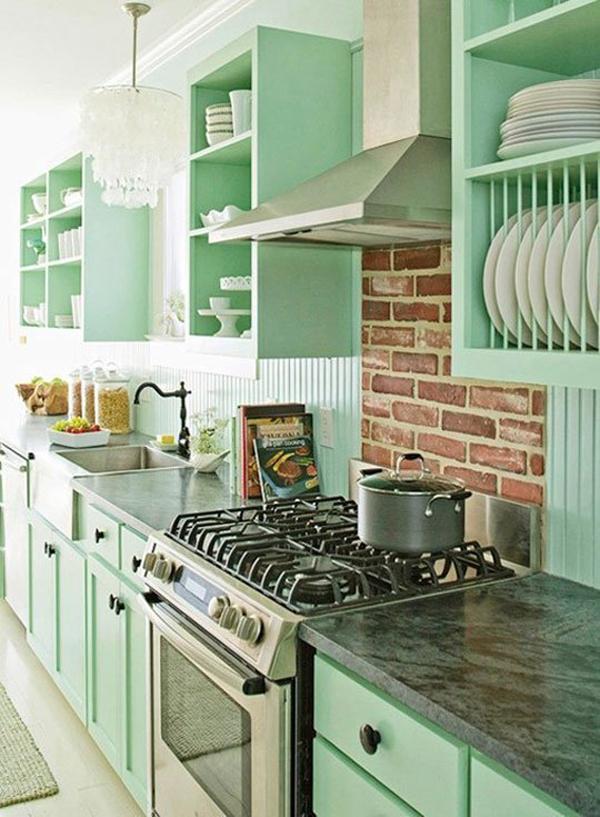 Kabinet Berwarna Pastel Dapur Bera Retro
