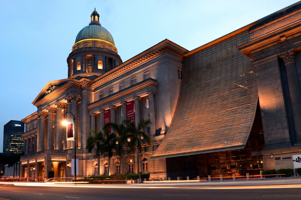 Singapore, Singapore - April 21, 2016 : The National Gallery is the former courthouse of the Supreme Court of Singapore. The building was the last structure in the style of classical architecture to be built in the former British colony.