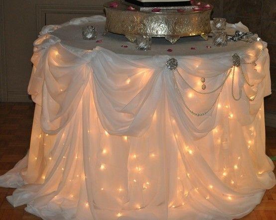 Meja buffet tidak selalu memanjang, ada juga yang berada sendiri dalam satu spot. Desain kain yang dikaitkan pada sisi-sisi meja dan lampu di dalamnya juga bisa sebagai tanda ada makanan bagi tamu. (pinterest.com)
