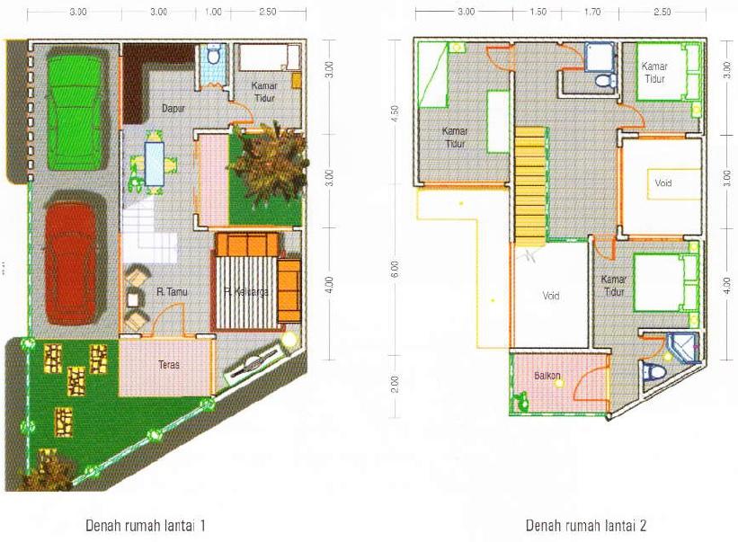 contoh sketsa rumah LT 72