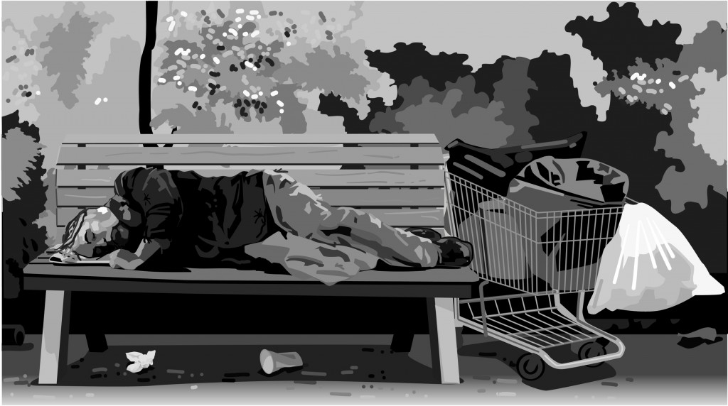Homeless man sleeping on a park bench, Grayscale