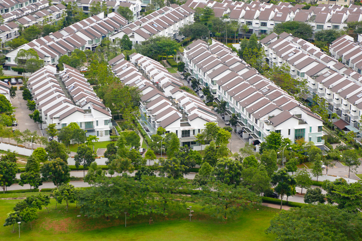 Aerial view of townhouses in Kuala Lumpur, Malaysia