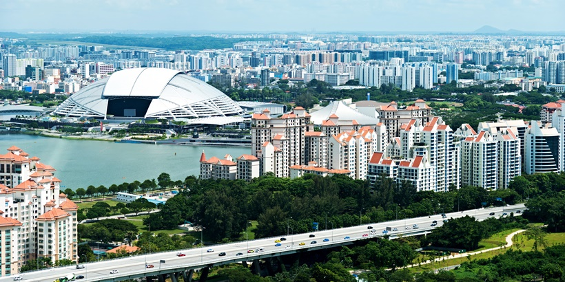 Aerial view of Singapore cityscape.