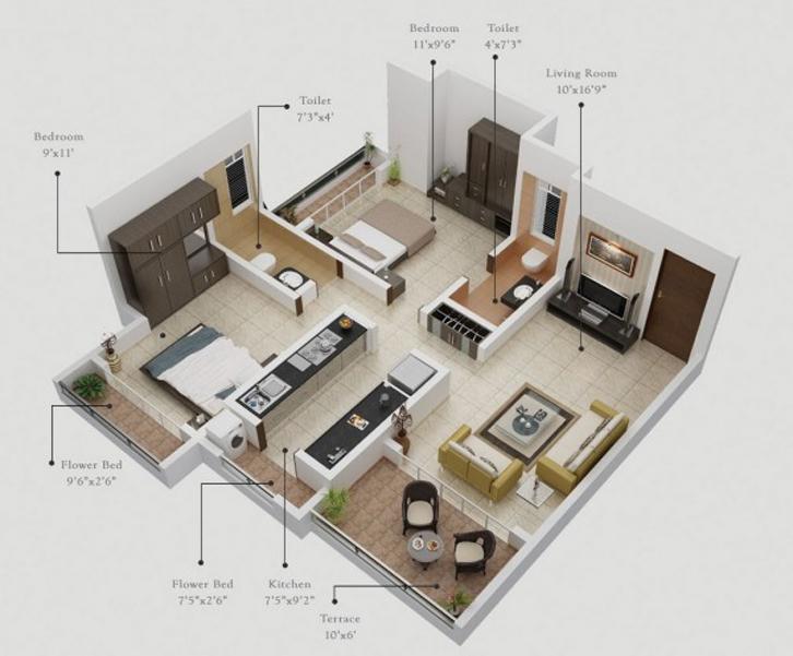 Inspirasi Desain Untuk Rumah 1 Lantai 2 Kamar Tidur | Rumah Dan Gaya Hidup | Rumah.com