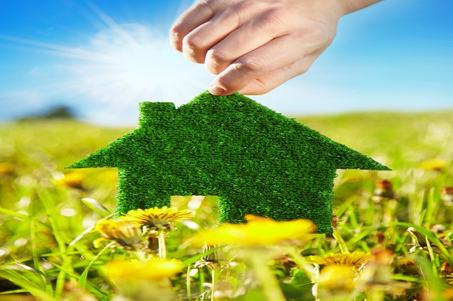 Eco home in the green countryside for climate protection