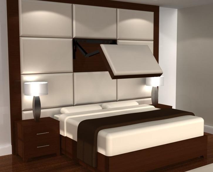 Aplikasikan panel tv pada headboard tempat tidur Anda.