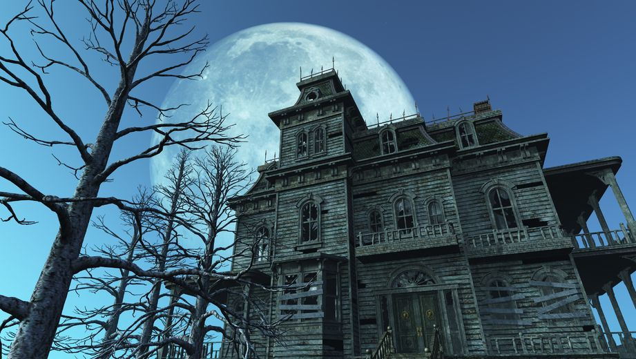 7972713 - a spooky old haunted house on a moonlit night - 3d render.