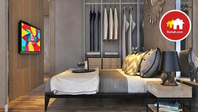Desain kamar tidur di apartemen Lumina City ideal bagi kaum muda.