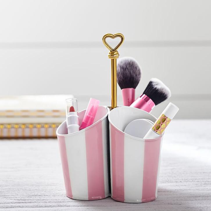 Manfaatkan wadah peralatan kantor menjadi wadah kosmetik yang cantik