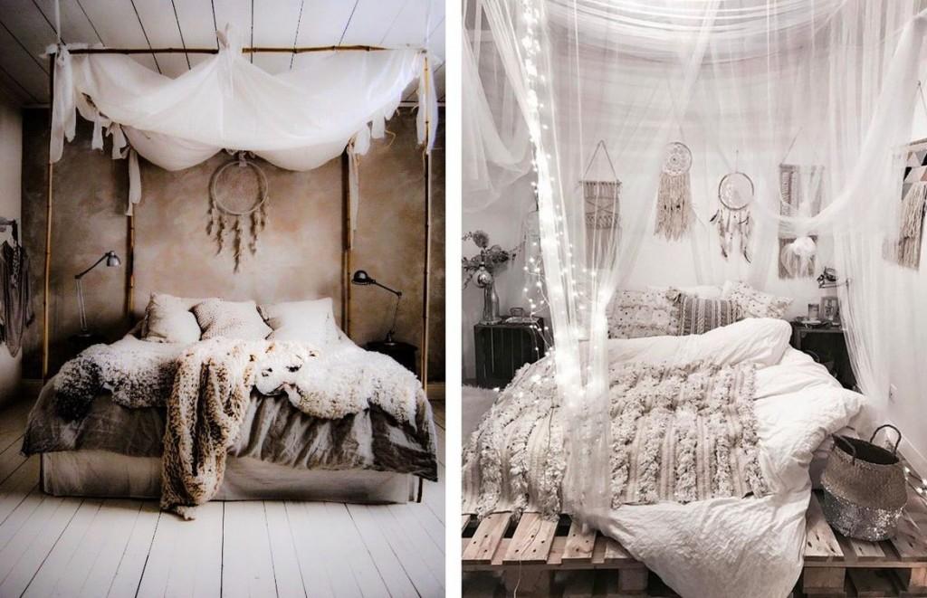 ห้องนอนสไตล์โบฮีเมียน สีขาวคลาสสิกบริสุทธ์ิ์