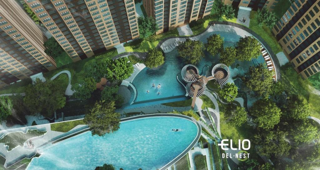 พื้นที่ส่วนกลางแบบจัดเต็มของโครงการ เอลลิโอ เดล เนสต์ ภายใต้การบริหารโดยบริษัท อนันดา ดีเวลลอปเมนท์ จำกัด (มหาชน)