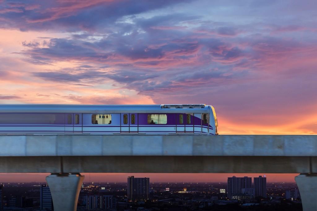 Sky train in the city, Bangkok, Thailand