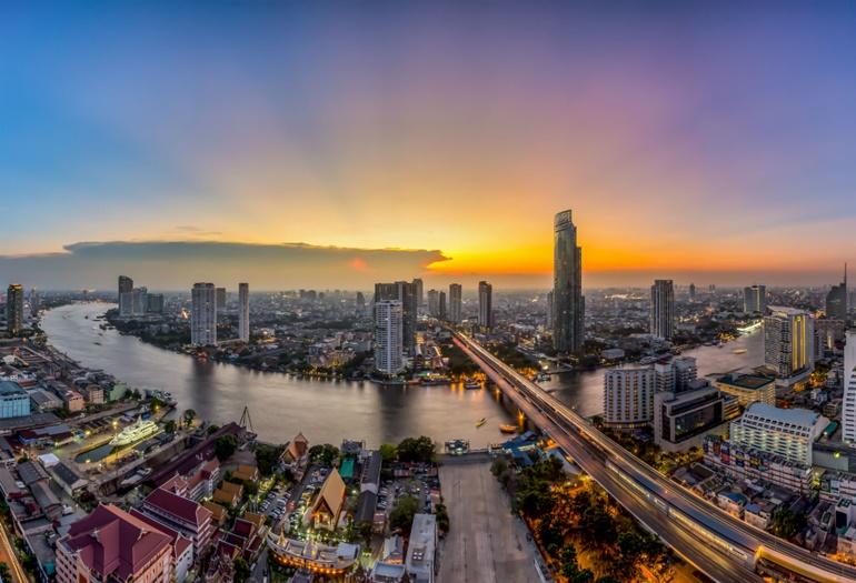 Bangkok skyline river