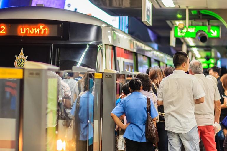 Bangkok, Thailand - February 28, 2017: Crowd of passengers on BT