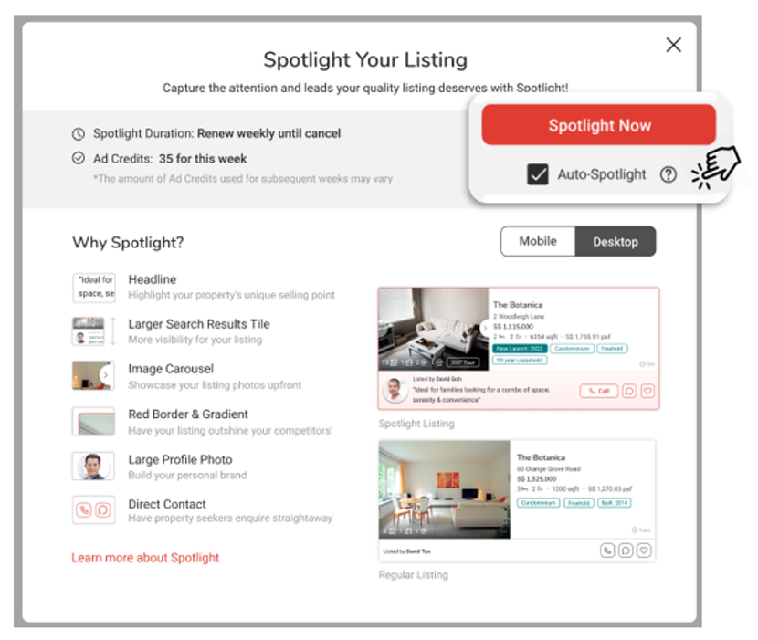 When you tick on 'Auto-Spotlight', your listing will be auto renewed indefinitely.