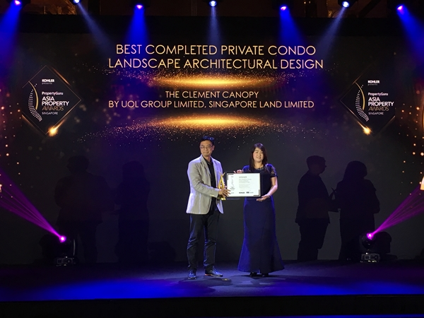 The Clement Canopy won  Best Completed Private Condo Landscape Architectural Design at PropertyGuru APA 2019
