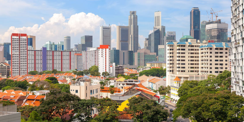 Singapore apartment housing with Central Business District city view daytime