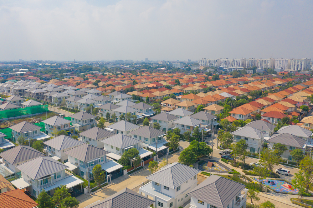 Aerial,View,Of,Residential,Neighborhood.,Urban,Housing,Development,From,Above.