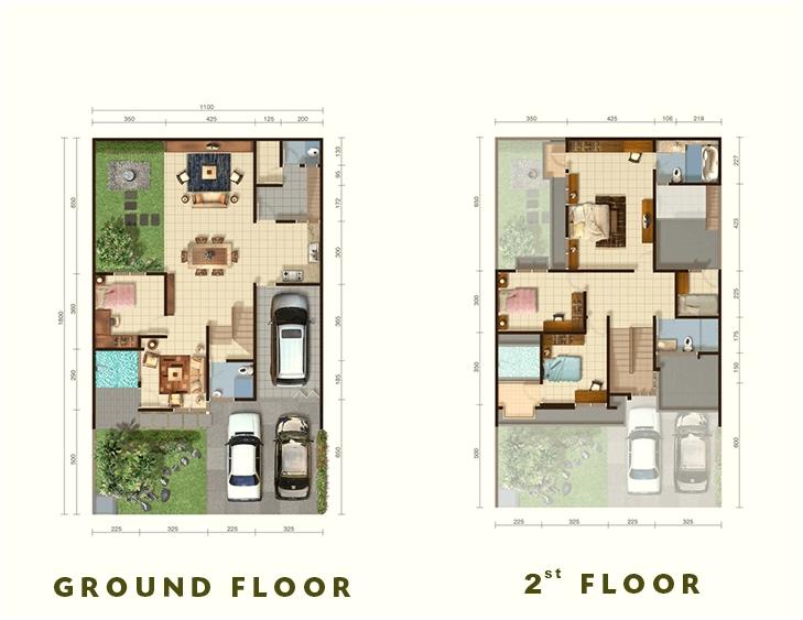 Denah ruang Tipe Grandis untuk lantai satu dan lantai dua