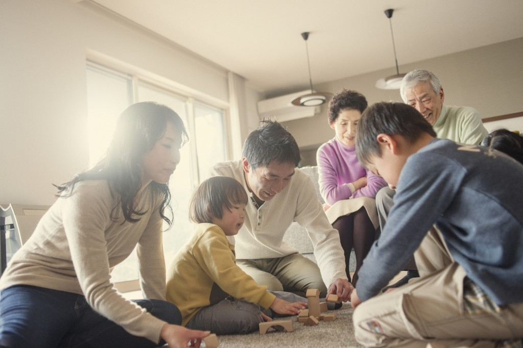 Family playing together at home