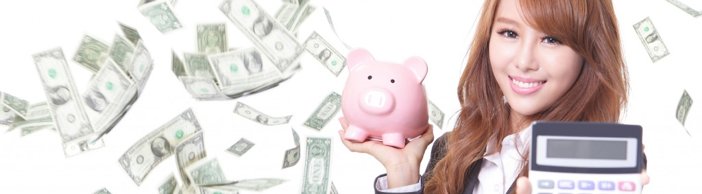 Savings woman smiling holding pink piggy bank and calculator with money rain background. Asian