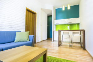 34462753 - green hotel room with sofa and kitchenette