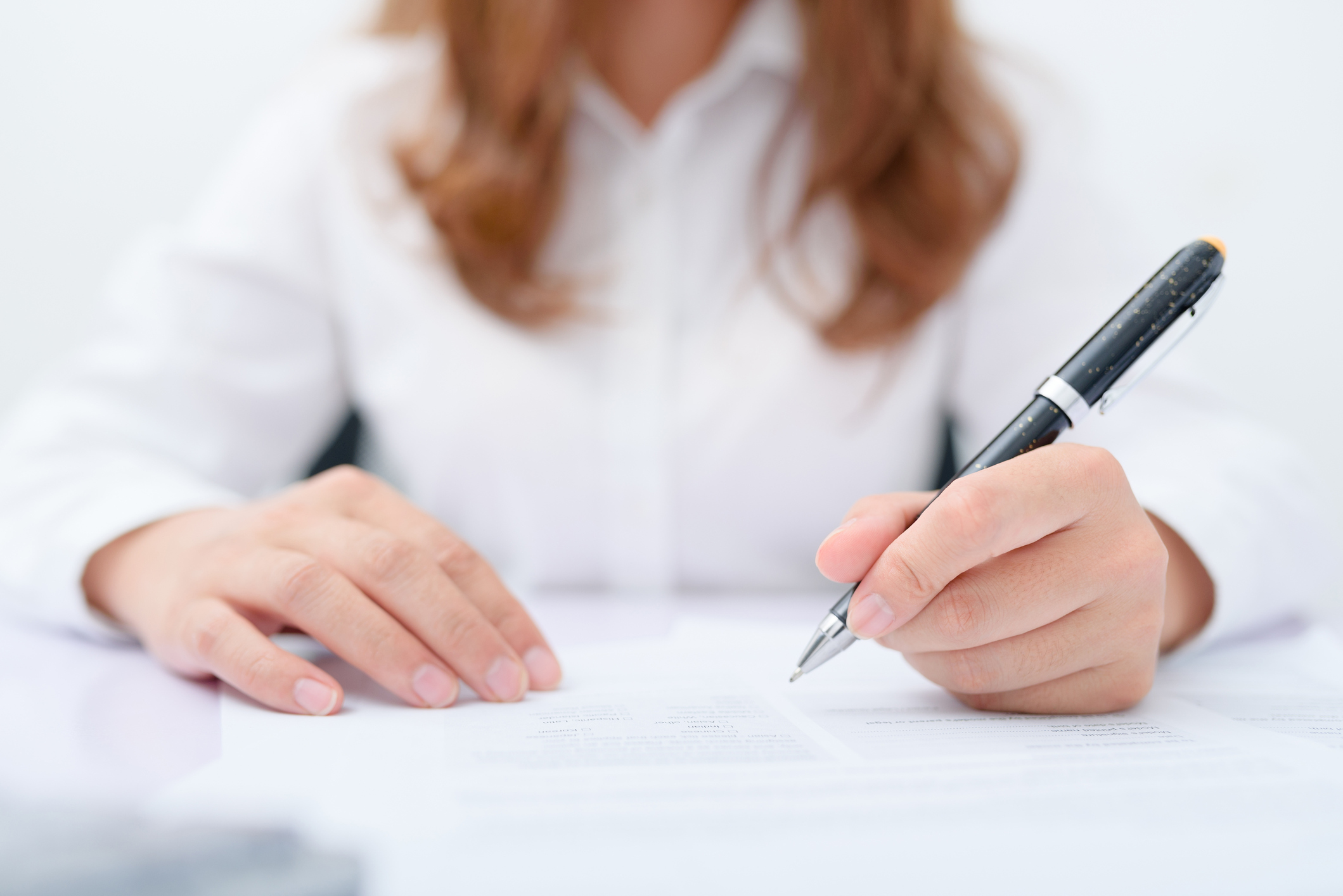 Asian young woman working at her workplace. Contract Sell buy house