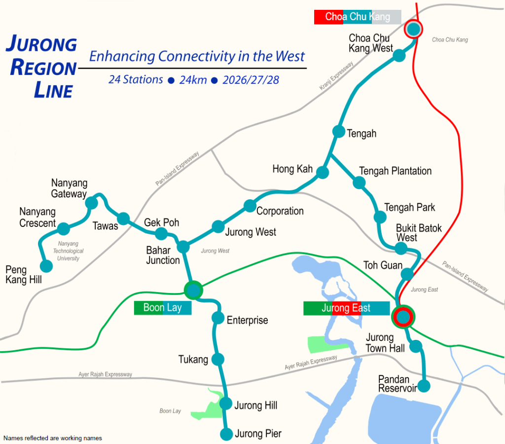 Map of the Jurong Region Line - PropertyGuru Singapore