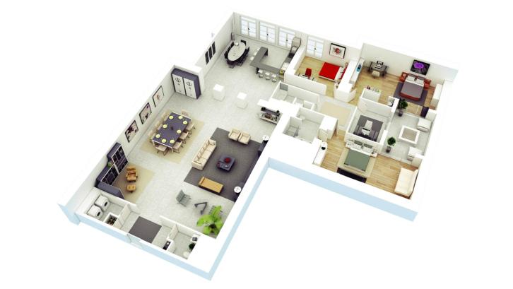 Jika punya lahan yang luas, Anda bisa memanfaatkan denah rumah minimalis berikut untuk pemanfaatan area outdoor yang lebih baik. (Foto: Home-Designing.Com)