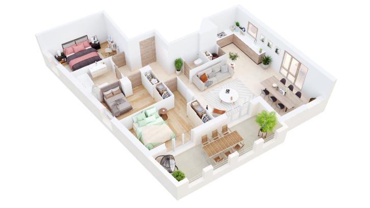 Meskipun bentuk lahannya unik, denah rumah minimalis ini akan membuat rumah Anda tampak simetris! (Foto: Concept Ark)