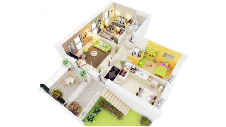 Level tanah yang kian meninggi bisa dimanfaatkan dengan baik pada denah rumah minimalis berikut. (Foto: conceptark.net)