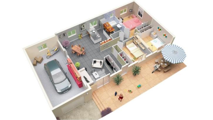 Denah rumah minimalis dengan menempatkan kamar mandi tunggal pada tengah bangunan. (Foto: home-designing.com)