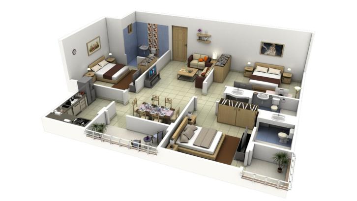 Pada lahan terbatas, denah rumah minimalis ini akan memaksimalkan penempatan ruangan. (Foto: Canadian-Art.Com)