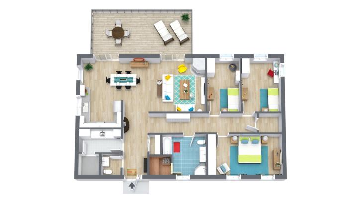 Denah rumah minimalis ini menempatkan area publik dengan berhadapan. (Foto: Room Sketcher)