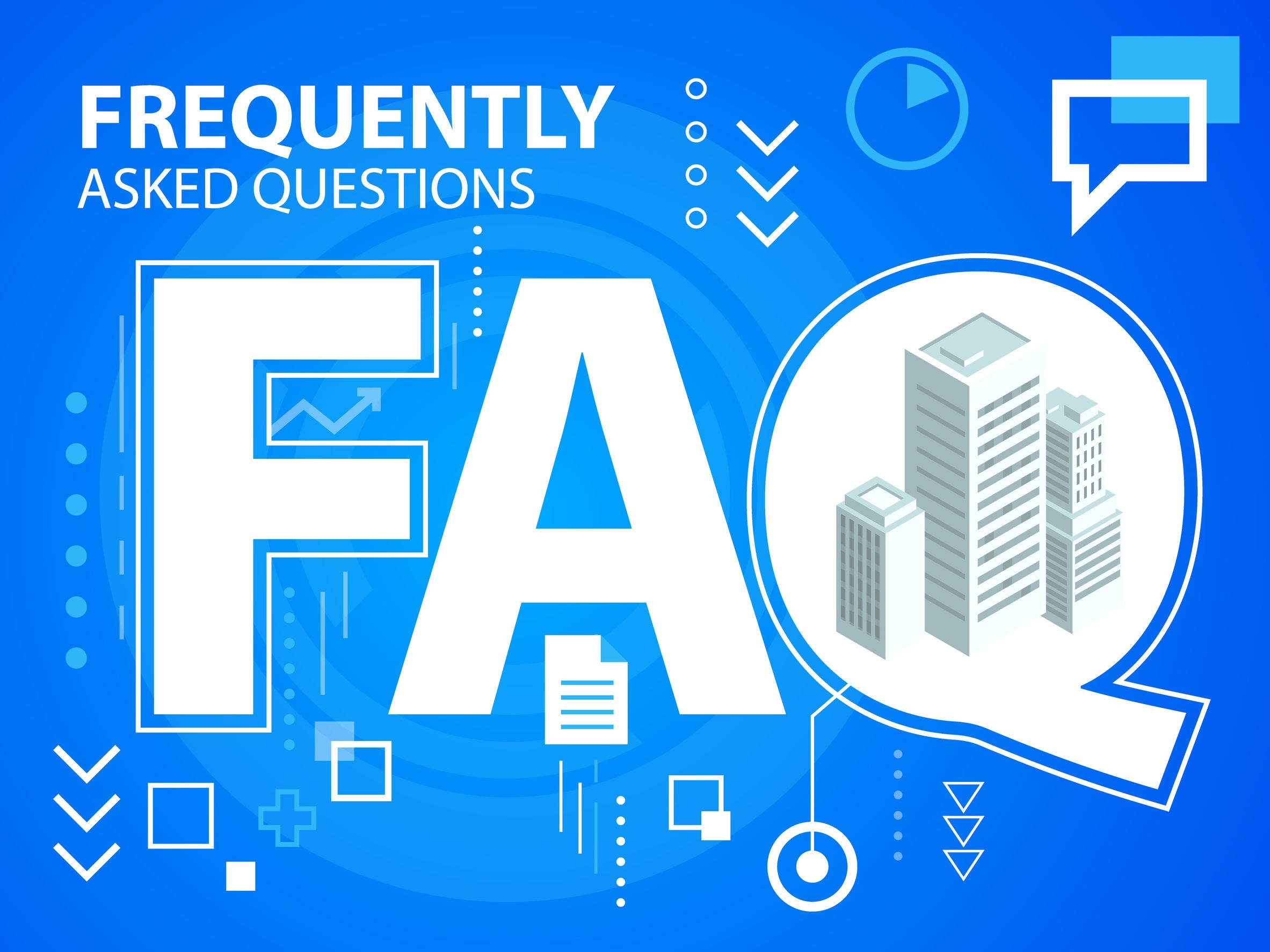 Vector bright illustration faq and buildings on blue background
