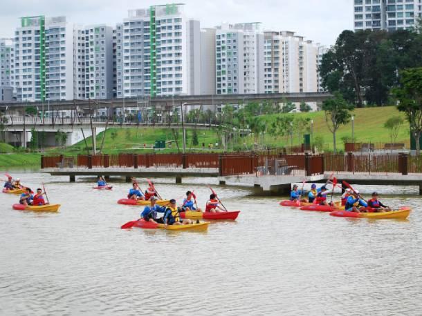 Kayakers kayaking down Punggol Waterway in the day