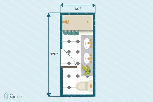 Akali lahan memanjang dengan denah kamar mandi praktis ini. (Foto: Thespruce.com)