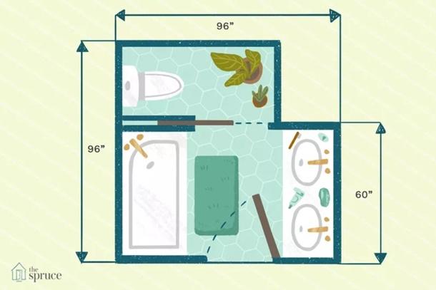 Punya area yang tidak simetris, denah kamar mandi ini bisa jadi pertimbangan. (Foto: Thespruce.com)