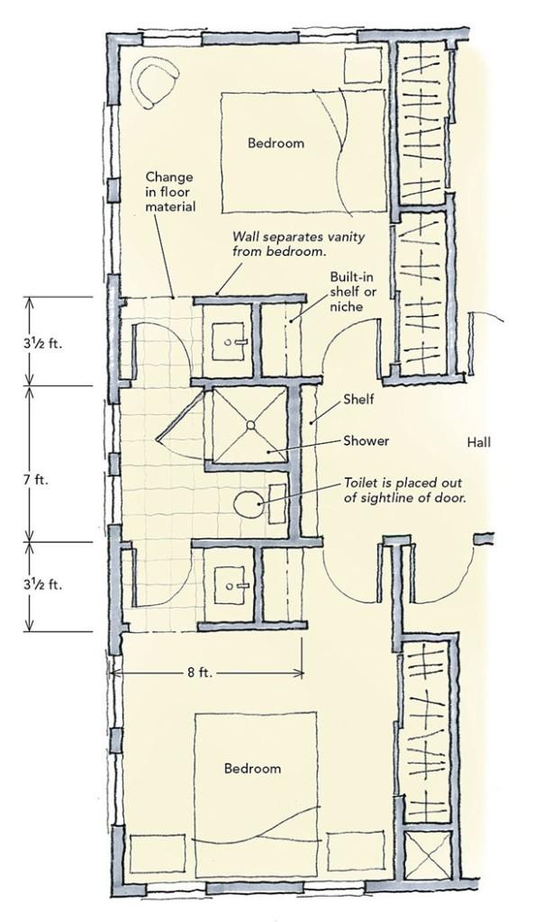 Konektivitas antara dua ruang tidur dimaksimalkan pada denah kamar mandi ini. (Foto: Finehomebuilding.com)