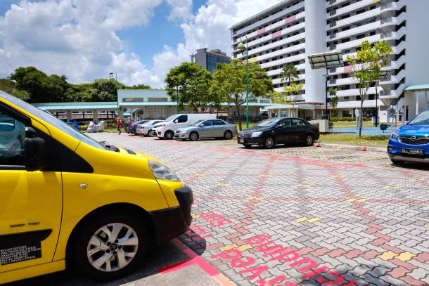 HDB car park lots with red markings