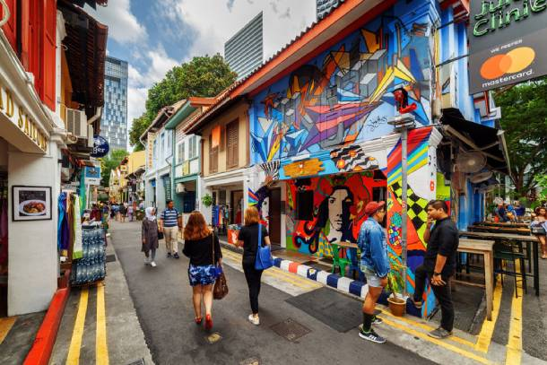 The colourful Haji Lane is filled with cafes and bars - PropertyGuru Singapore