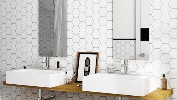Keramik dinding berpola hexagon ini digunakan untuk membuat efek sarang lebah. (Foto: Crowntiles.co.uk)