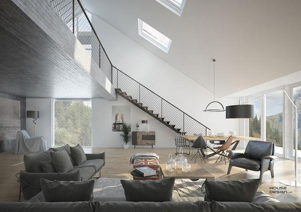 Konsep open space ini terlihat manis berpadu dengan tangga logam pada interior rumah minimalis berikut. (Foto: housedesign.vn)