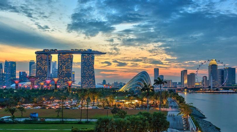Singapore city skyline view at Marina Bay